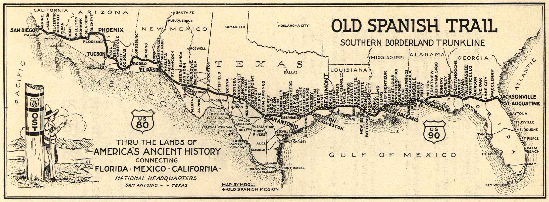 Old Spanish Trail At AmericanRoadsus - Us highway 80 map