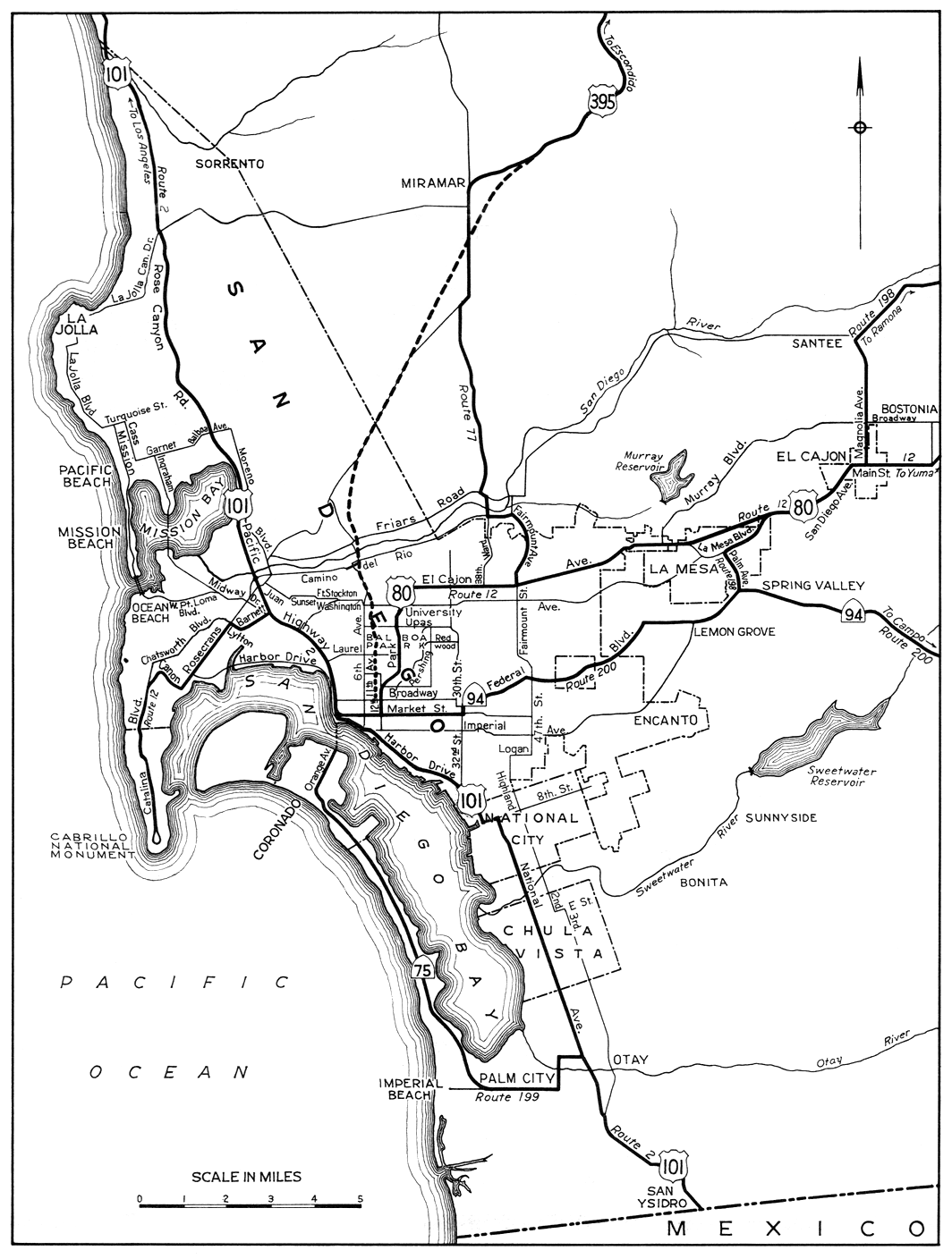 San Diego To Poway - Us 395 map