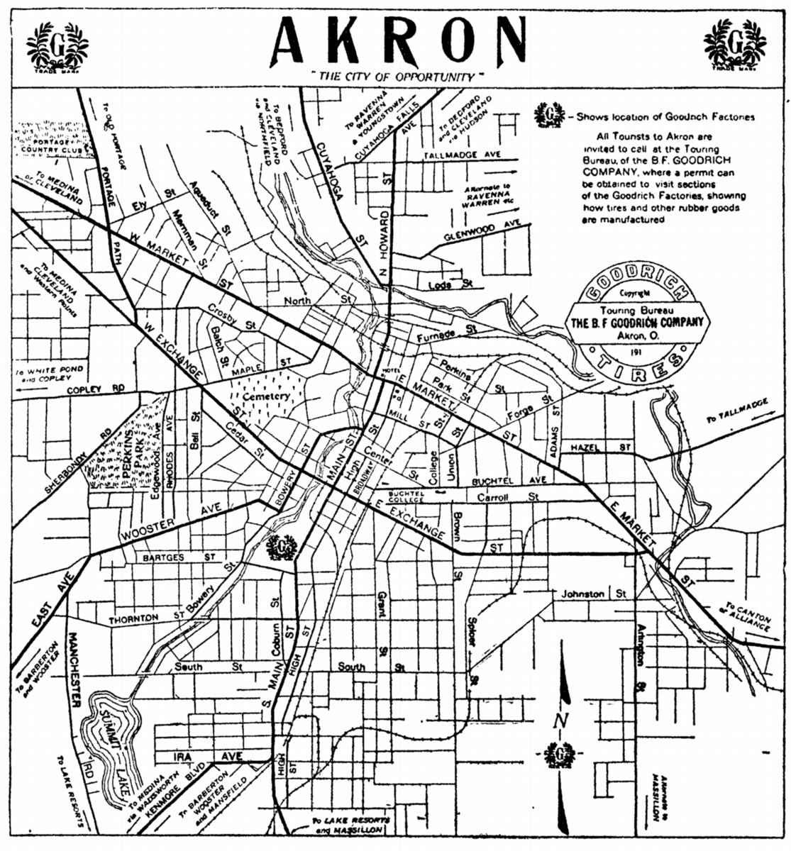 Ohio City Maps At AmericanRoadsus - Akron on us map