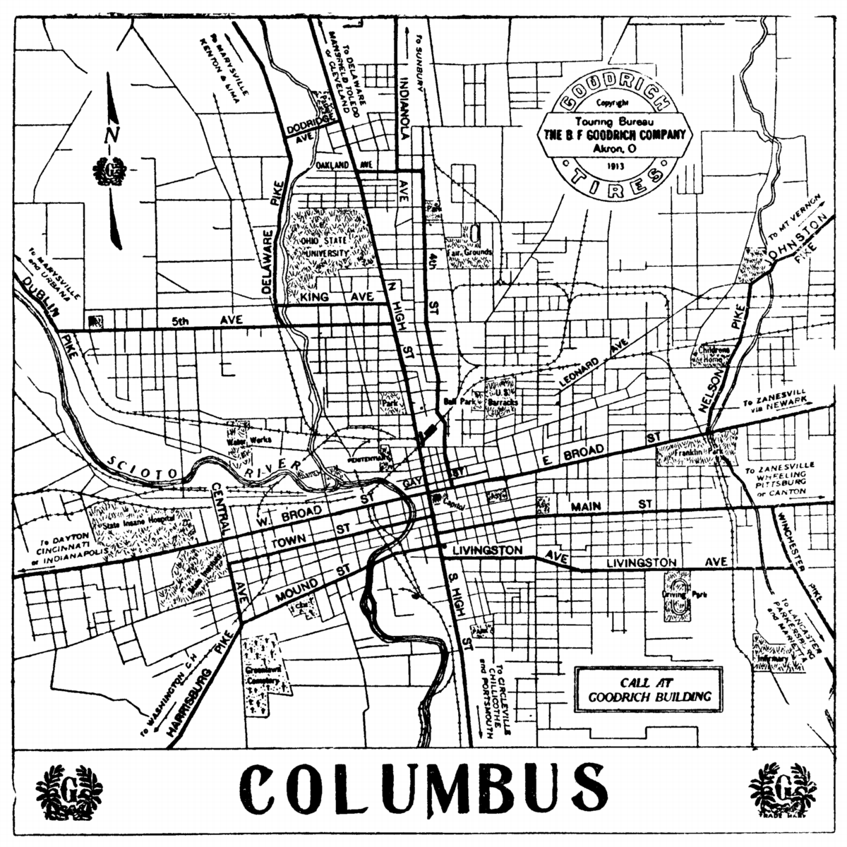 Ohio City Maps At AmericanRoadsus - Columbus ohio on a us map