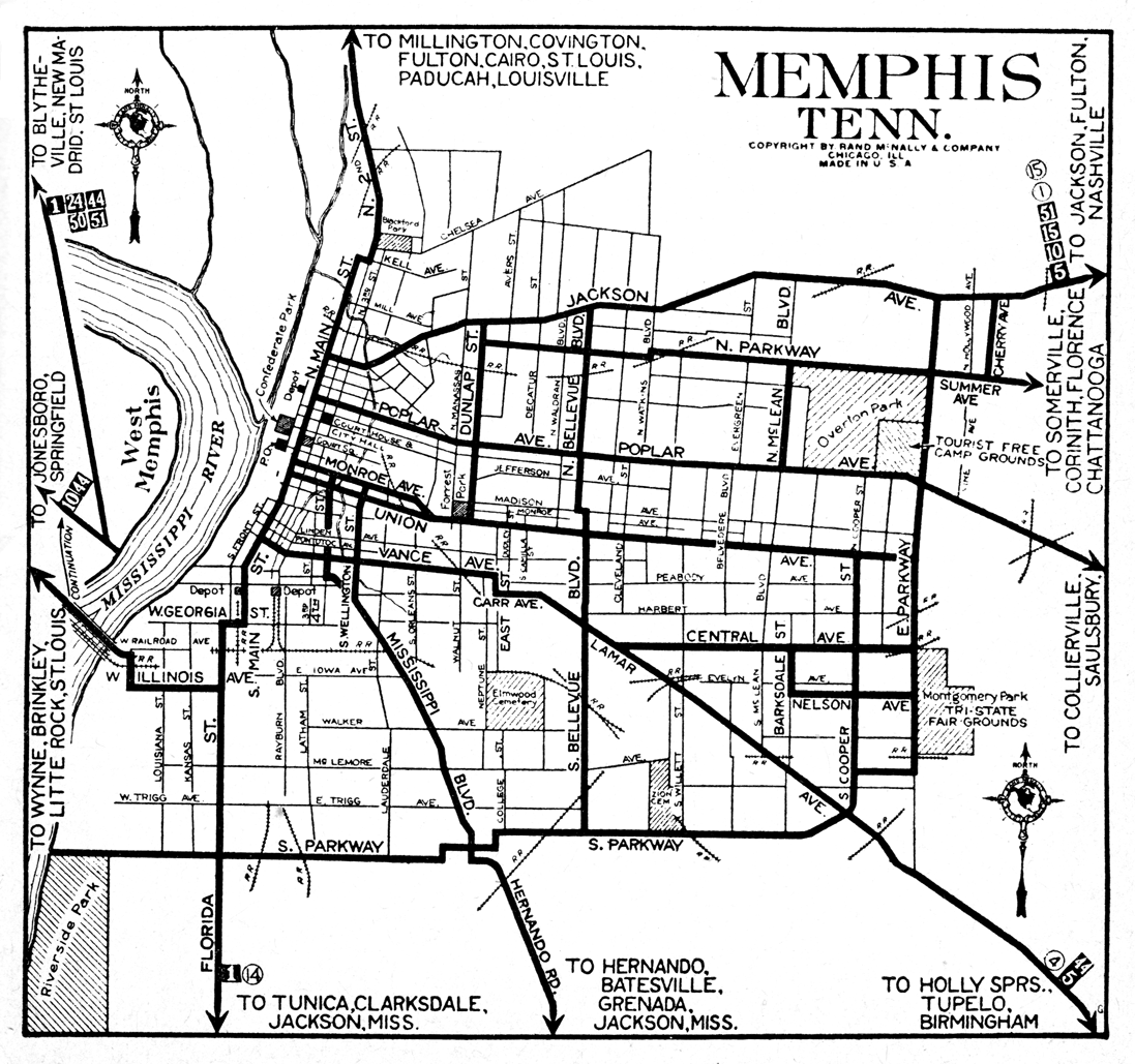 Tennessee City Maps At AmericanRoadscom - Memphis tennessee on us map