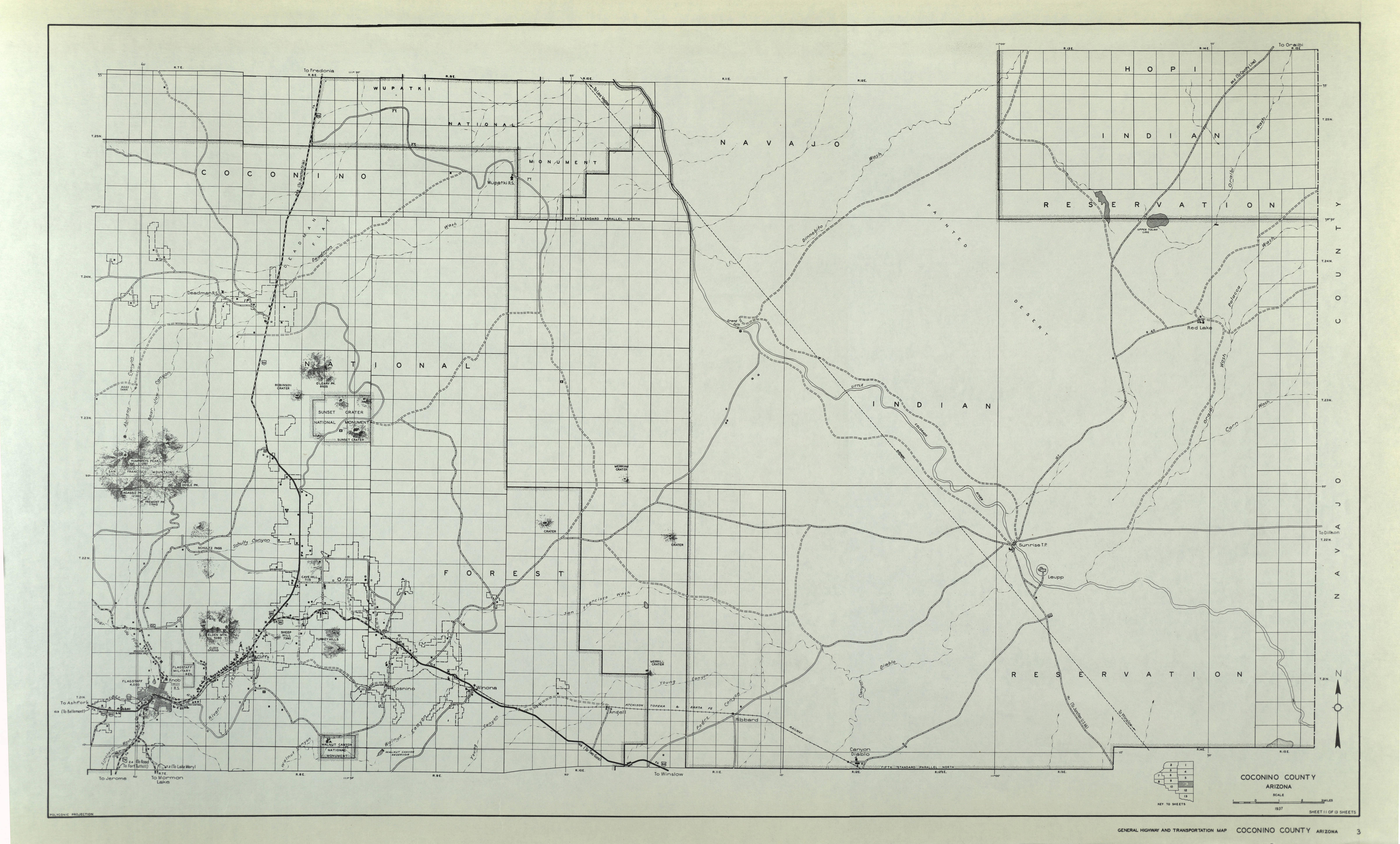 Apache County Arizona Map.1937 Arizona State Highway Maps For 66