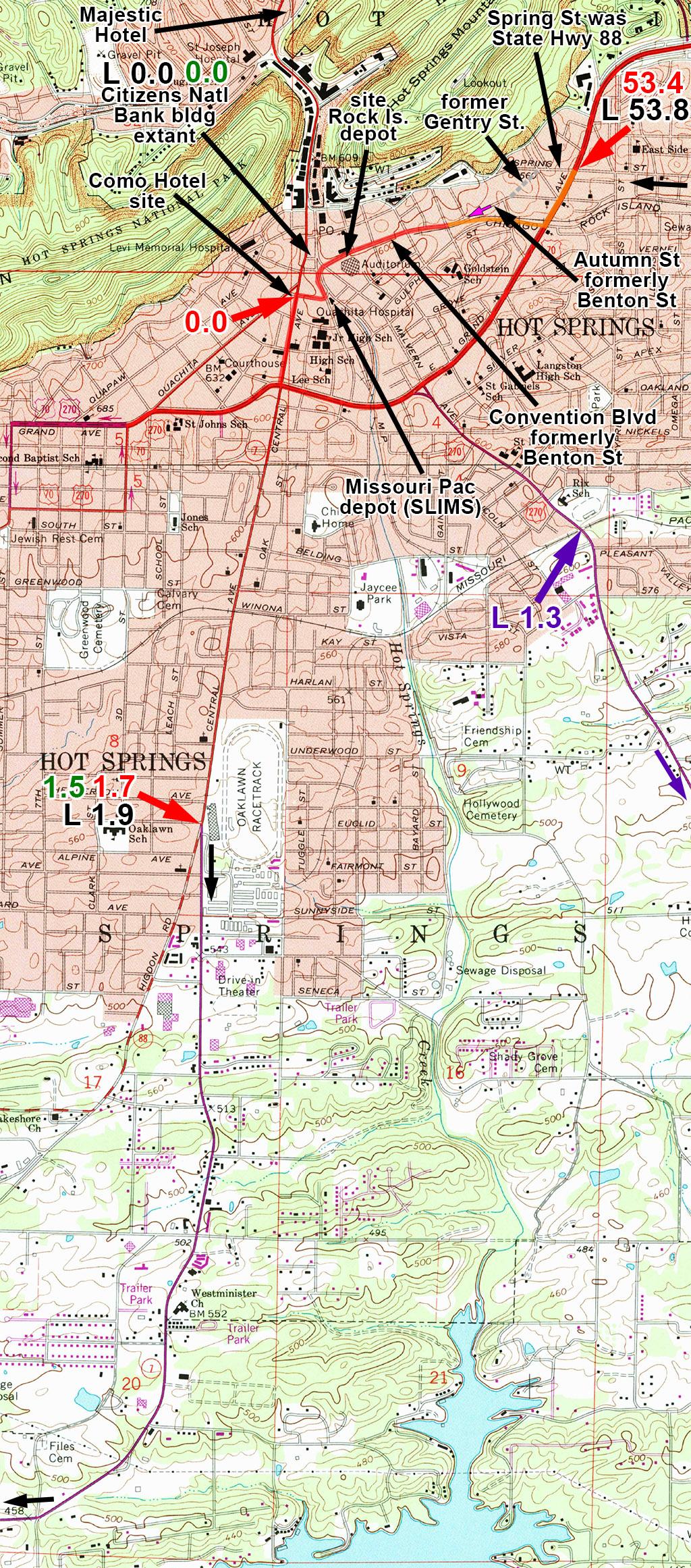 Purple The Eastern Route To Arkadelphia Via Malvern Green 1928 Acsc Strip Map Mileages