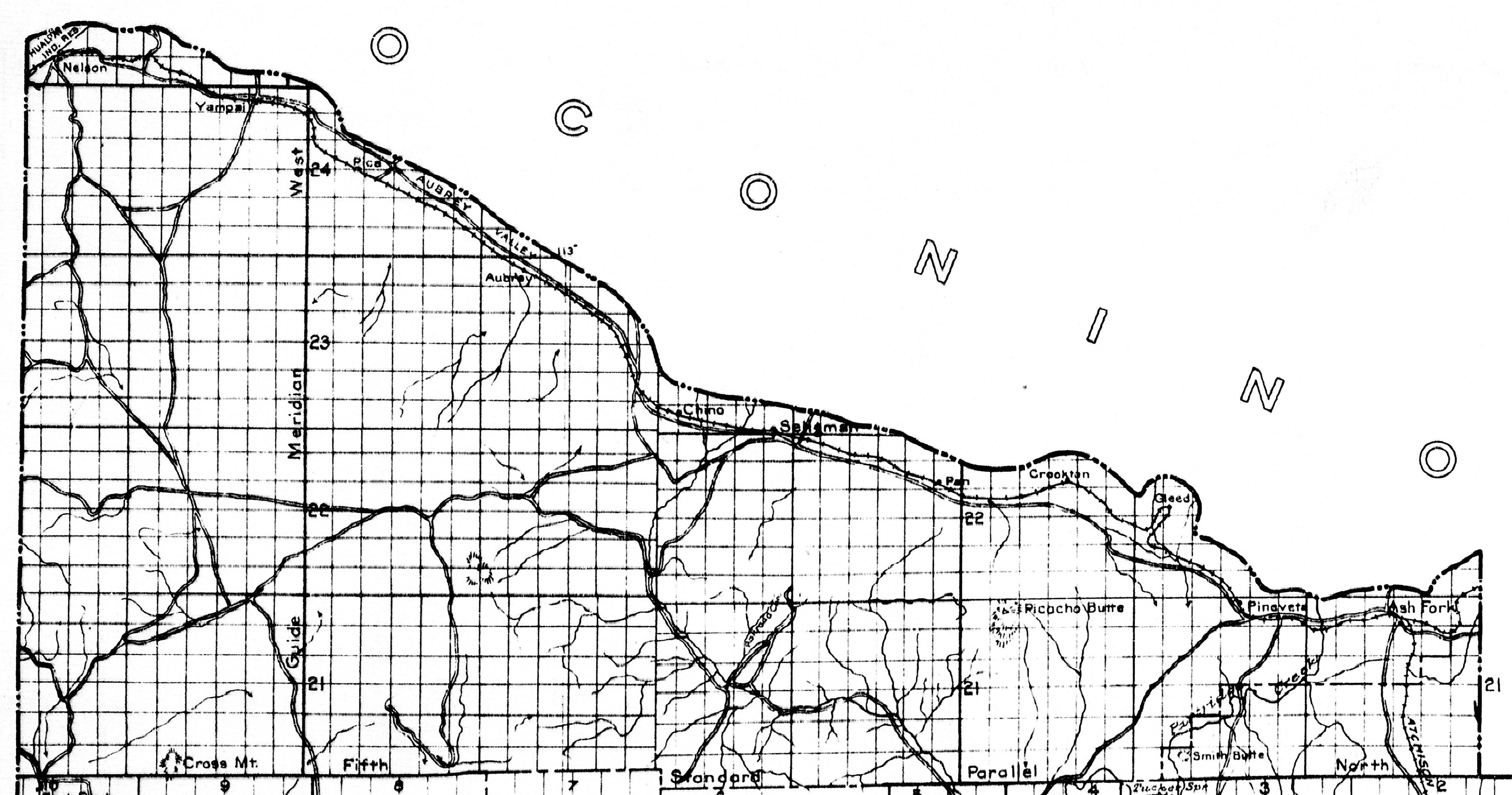 Yavapai County 1920 Bond Issue Map Of Highways To Be Constructed Detail Whole Map