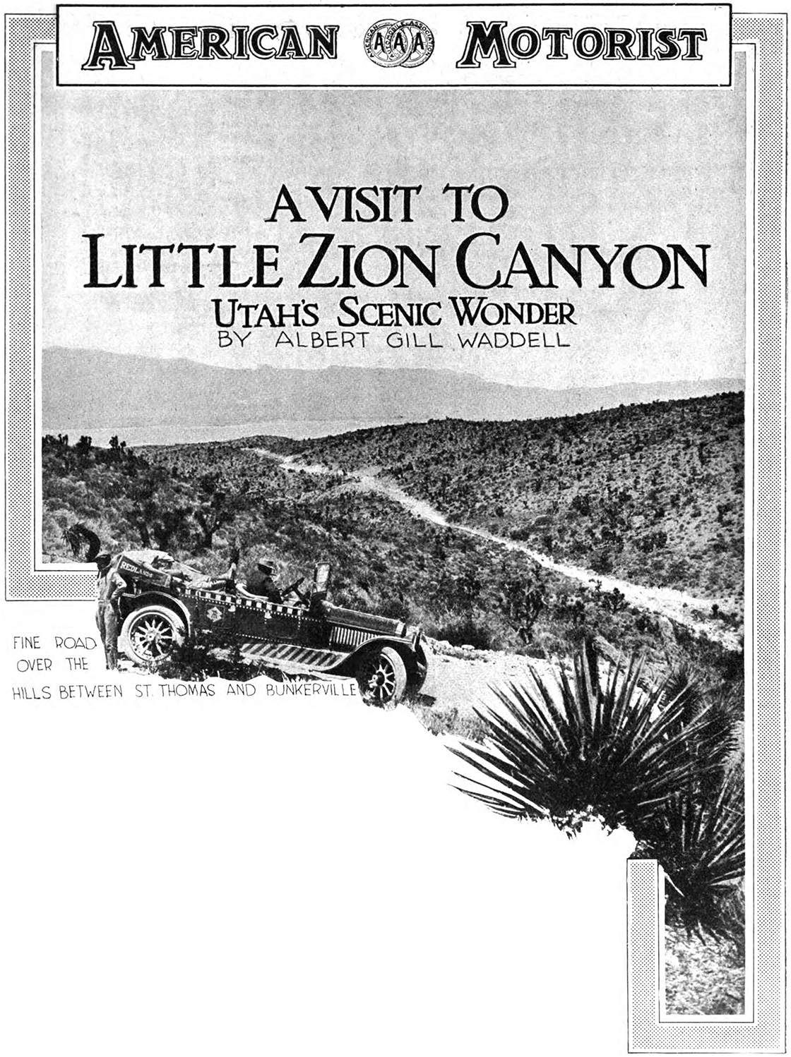 A visit to little zion canyon american motorist august 1 for Zion motors st george