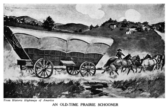 Prairie schooner on one of the old trails