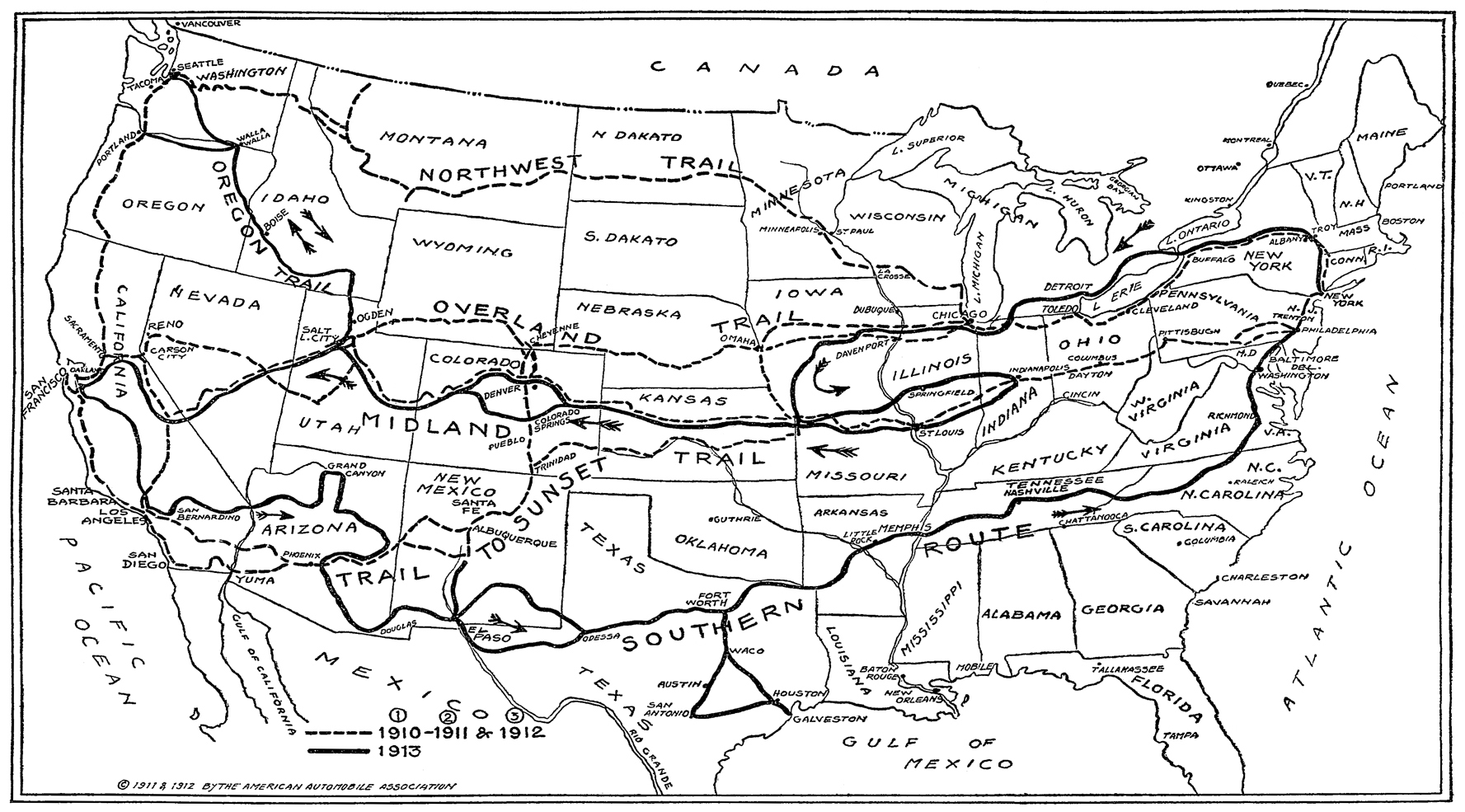 To Map Two Trails Across Continent New York Times May At - Map of us trail lines