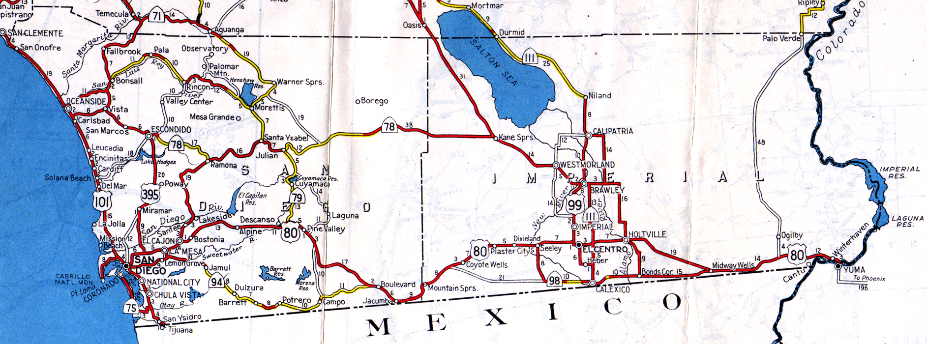1944 san diego and imperial map